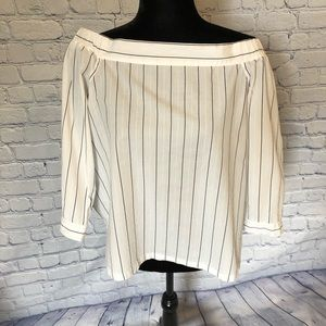 Loft Off The Shoulder White with Black Pinstripes